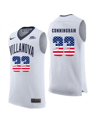 Men's Nike Villanova Wildcats 33 Cunningham Authentic White New US Flag Fashion Jersey